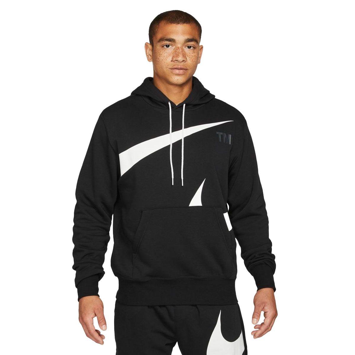 Nike Felpa Sportswear Swoosh Uomo Nero Bianco