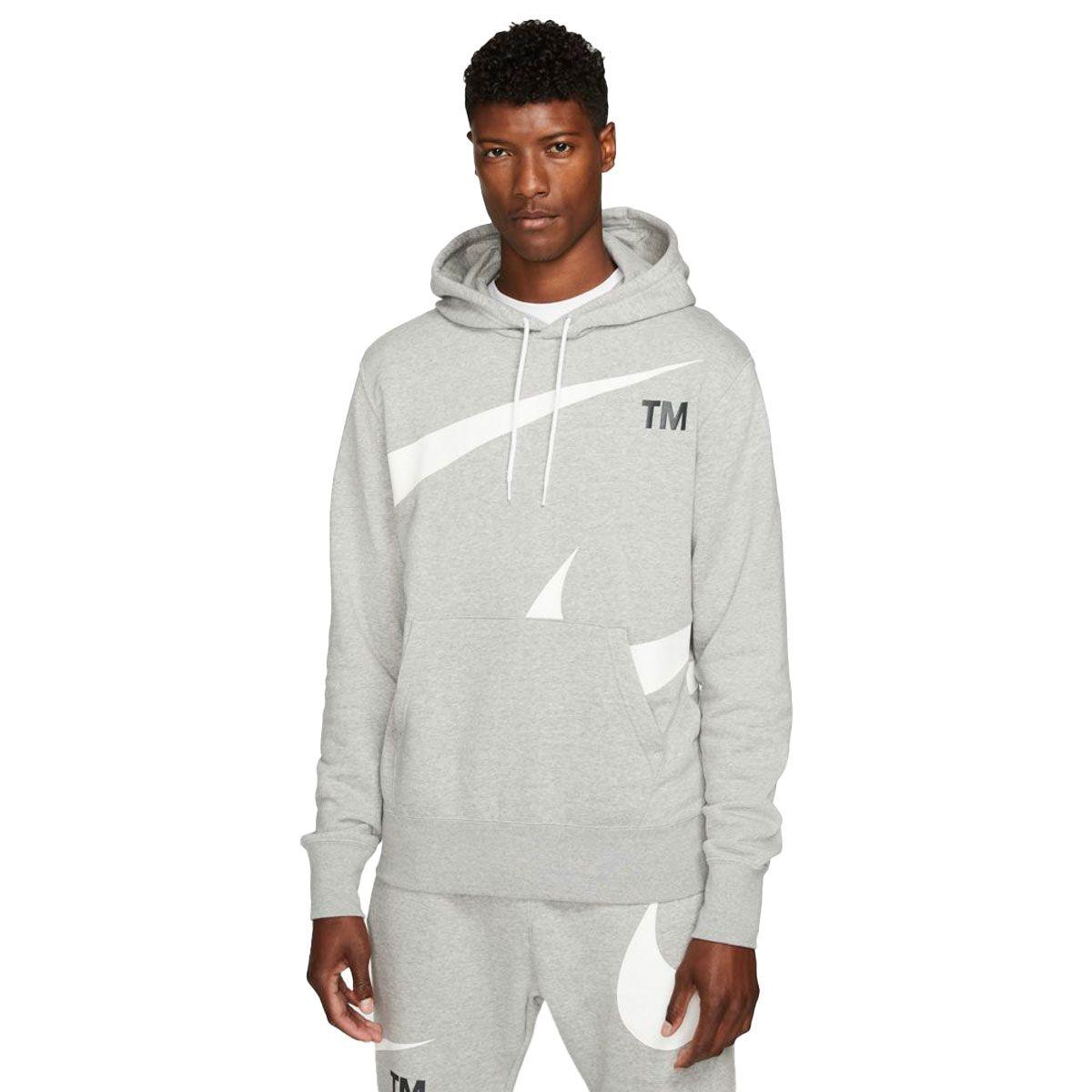 Nike Felpa Sportswear Swoosh Uomo Grigio Bianco