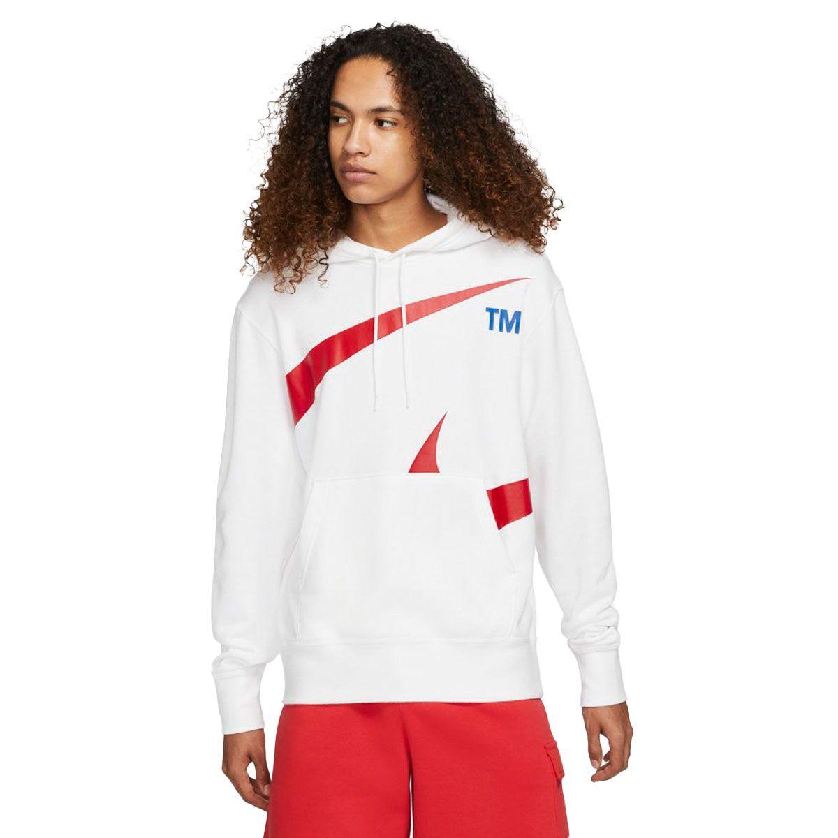 Nike Felpa Sportswear Swoosh Uomo Bianco Rosso