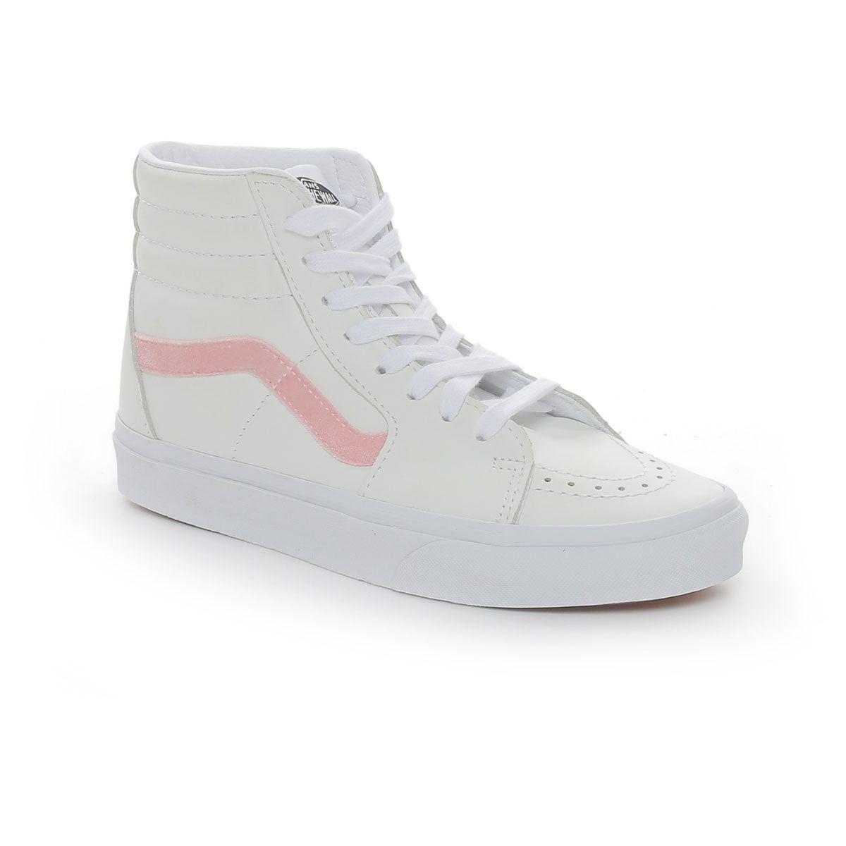 Vans Sk8-Hi Velvet Sidestripe Donna Bianco Rosa