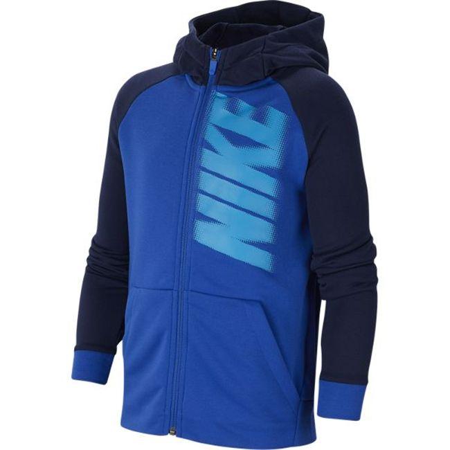 Nike Felpa Cappuccio Full Zip Poliestere Graphic Bambino Blu
