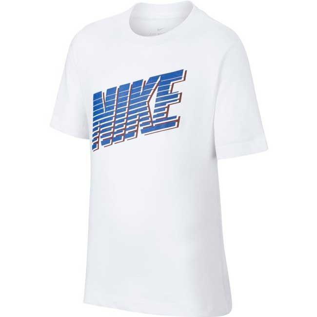 Nike T-Shirt Nsw Block Bambino Bianco Blu