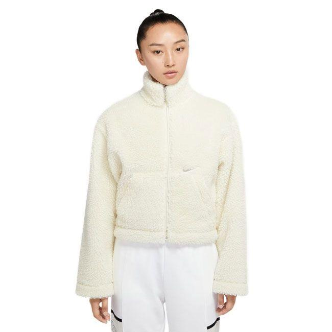 Nike Giacca Sportswear Swoosh Orsetto Donna Bianco