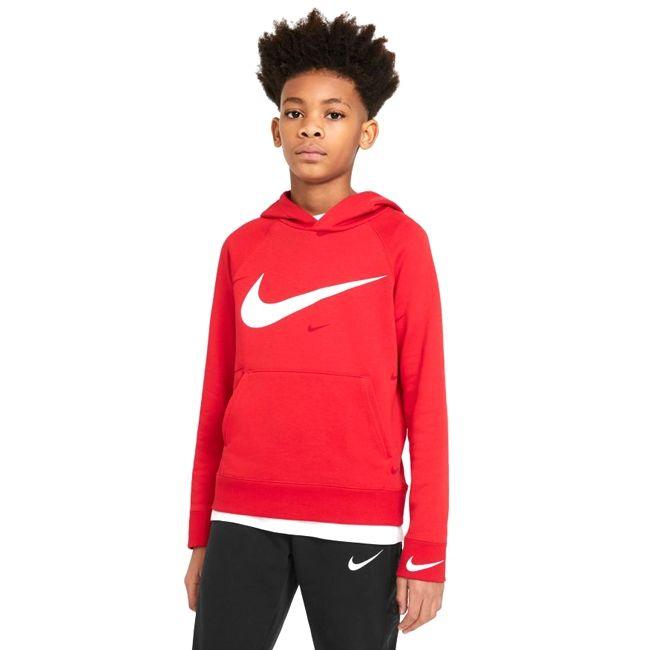 Nike Sportswear Felpa Cappuccio Swoosh Ragazzo Rosso Bianco
