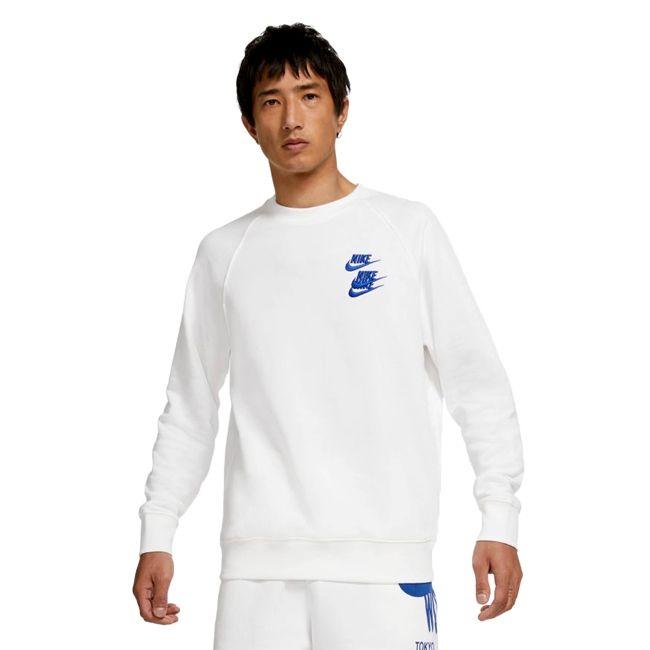 Nike Sportswear Felpa Girocollo World Tour Uomo Bianco Blu
