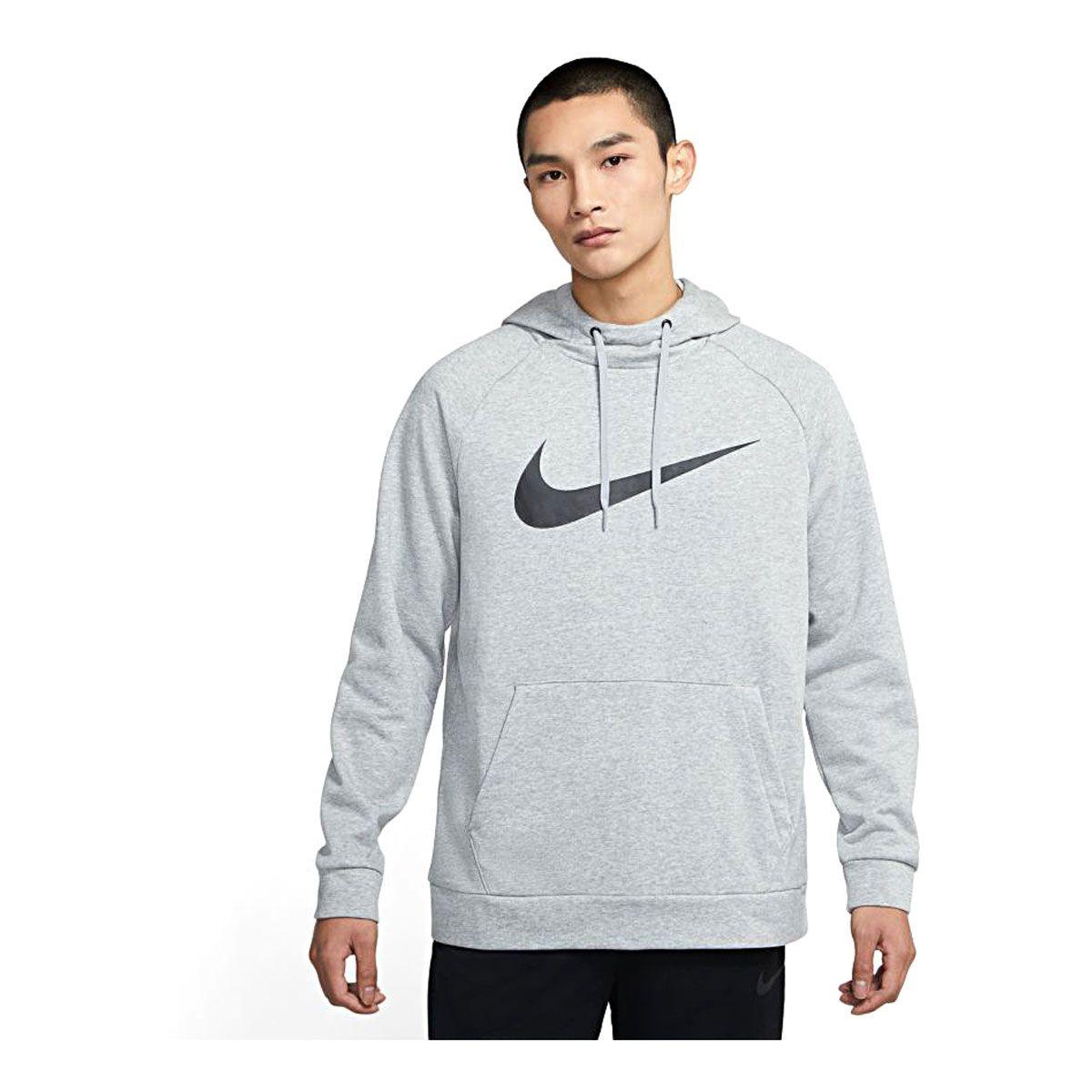 Nike Felpa Essential Dri-FIT Swoosh Uomo Grigio Nero