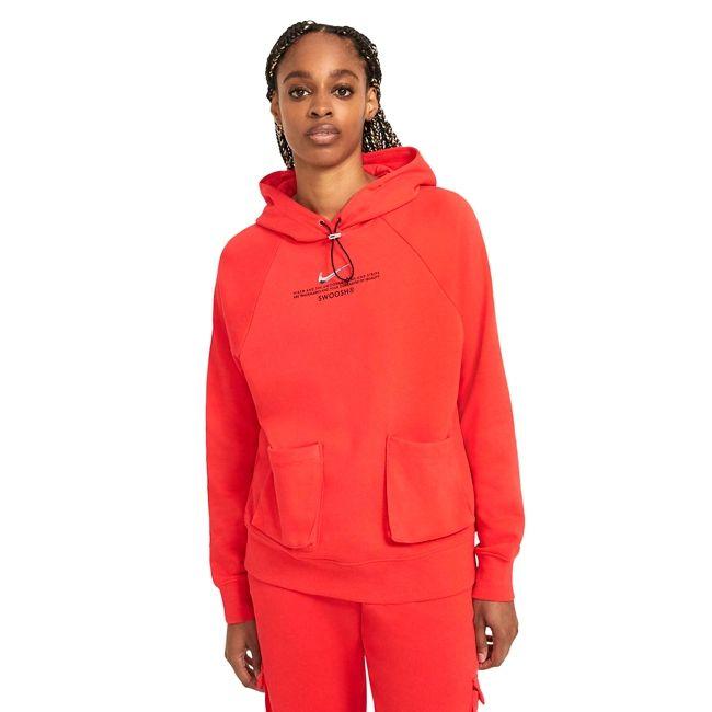 Nike Felpa Sportswear Swoosh Donna Rosso Nero