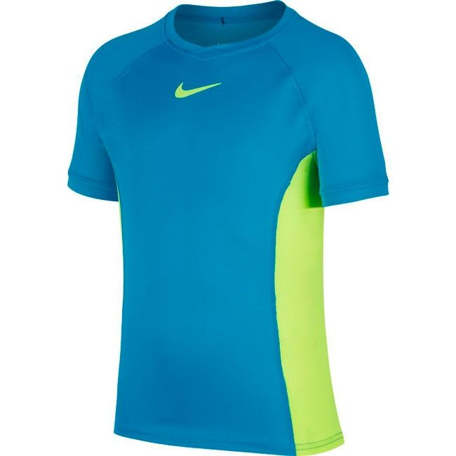 Nike T-Shirt Court Dri-FIT Crew Bambino Blu Verde