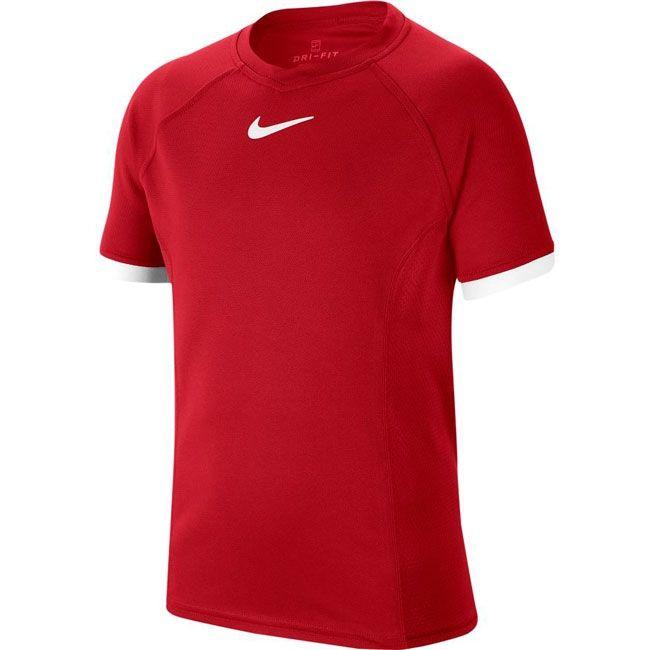 Nike T-Shirt Court Dri-FIT Crew Bambino Rosso Bianco